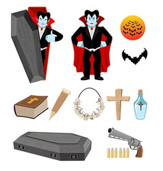 Dracula set vampire and bats weapon against vector