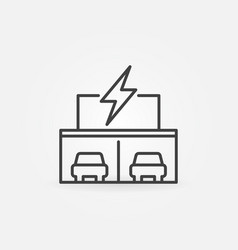 Electric car dealership store building line icon vector