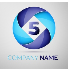 Five number colorful logo in the circle template vector
