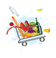 flying trolley at the supermarket vector image