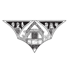 Fourteenth century gabled house weobly vintage vector