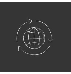 Globe with arrows drawn in chalk icon vector