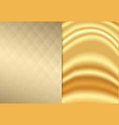 Gold fabric wave with square pattern luxury vector