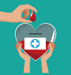 Hands holding glass heart campaign donate blood vector