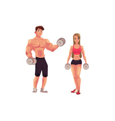 man and woman bodybuilders weightlifters working vector image