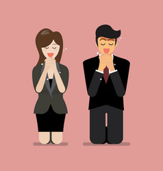 Man and woman pray to god vector