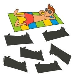Man sunbathing on the beach vector image