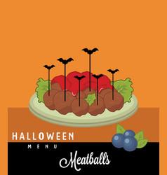 Meatballs halloween menu vector