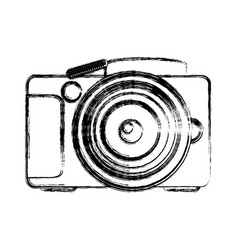 Monochrome sketch of analog photo camera vector