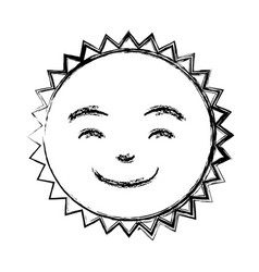 Monochrome sketch of caricature of the sun smiling vector