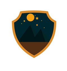 Mountain adventure night badge vector image