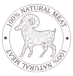 Natural meat stamp with sheep vector image vector image