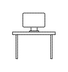 office desk and computer furniture equipment work vector image vector image