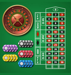 Online casino roulette and gambling table with vector