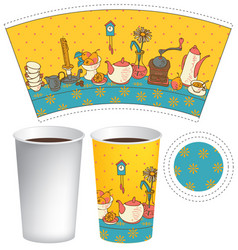 paper cup for hot drink with dishes on the table vector image vector image