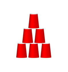 pyramid of cups in red design vector image vector image