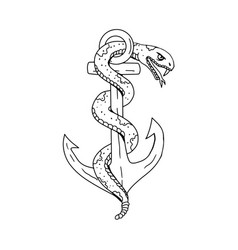 Rattlesnake coiling on anchor drawing vector