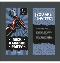 Rock party invitation hand with a microphone vector