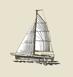 sailing yacht on a beige background vector image vector image