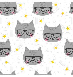 seamless pattern with cute cartoon little cat vector image vector image