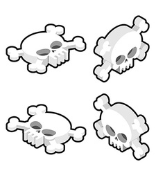 Skull isometric set Head of skeleton and vector image vector image