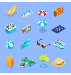 Travel Accessories Isometric Icons Set vector image