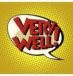 Very well comic bubble retro text vector