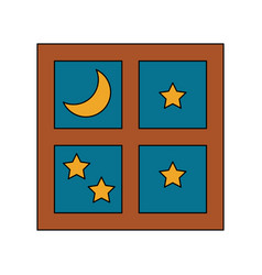 window with starry night sky icon image vector image