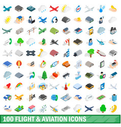 100 flight aviation icons set isometric 3d style vector