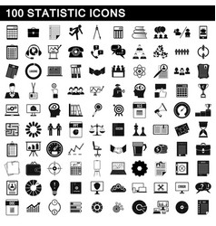 100 statistic icons set simple style vector