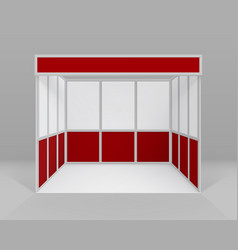 white red indoor trade exhibition booth stand vector image