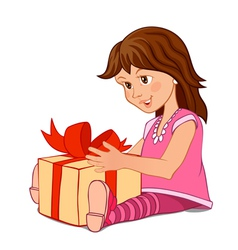 Little girl in a pink dress with a gift box vector image