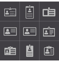 Black id card icons set vector