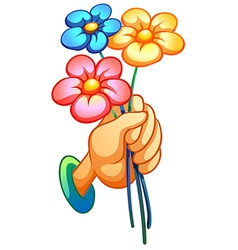 A hand holding three flowers vector