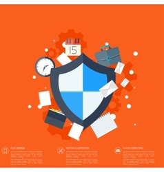 Flat shield icon data protection concept social vector