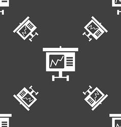 Graph icon sign Seamless pattern on a gray vector image