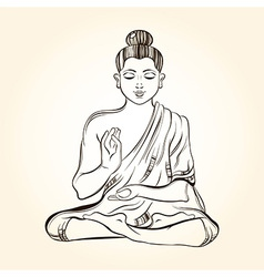 Hand drawn sitting buddha in meditation sketch for vector