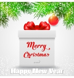 Merry christmas gift white box with a red bow vector
