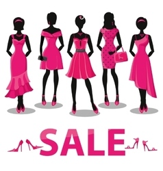 Black friday salepink party dressesaccessories vector