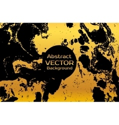 Golden on black abstract painted marble vector