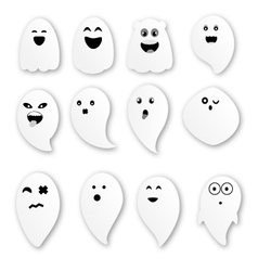 Cute ghosts on white background vector