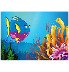 An underwater view with a big fish and beautiful vector image vector image