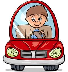 Boy in car cartoon vector