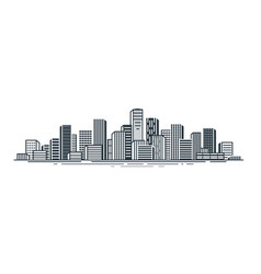 City view urban landscape skyscrapers building vector