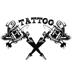 cool hand-drawn tattoo machine isolated on white vector image vector image