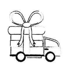Delivery truck and gift box icon image vector