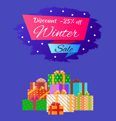 Discount 25 winter sale poster with advert present vector