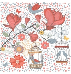 Elegant card with flowers bids and cages vector