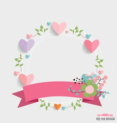 Floral bouquets with ribbon and heart vector image