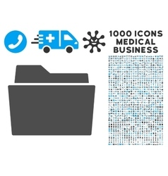 Folder Icon with 1000 Medical Business Pictograms vector image